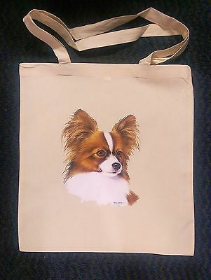 Papillon Head Print On A Tote Bag