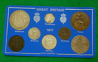 1917 WWI George V 8-Coin Year Set On Card ( 2/6 - 1/4d ) Incl 5 Silver Coins