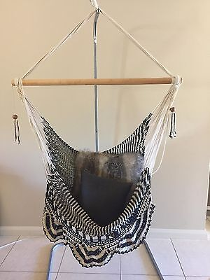 Black And White Large Hanging Hammock Chair Handmade With Crochet Edge
