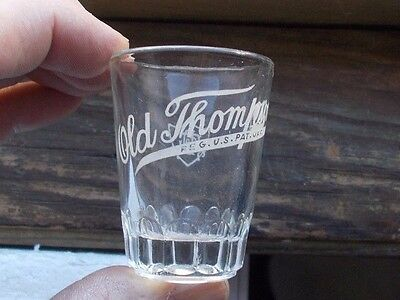 Old Thompson Etched Whiskey Advertising Shot Glass Glenmore Owensboro,ky