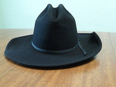 Vintage Cowboy Black Wool Hat Size Small From PFI MO Largest Western Store USA