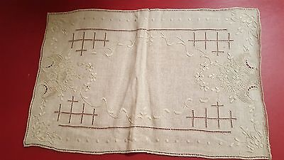 9pc 1900s antique Italian linen wedding placemats + runner vtg