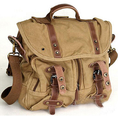 Vintage Men Canvas Backpack Military Hiking Rucksack School Travel Shoulder Bag
