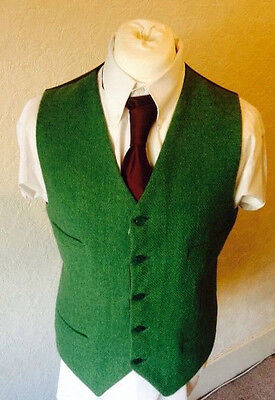 Mens Green Harris Tweed Waistcoat Winter Wool Wedding Vest Groom Formal Casual