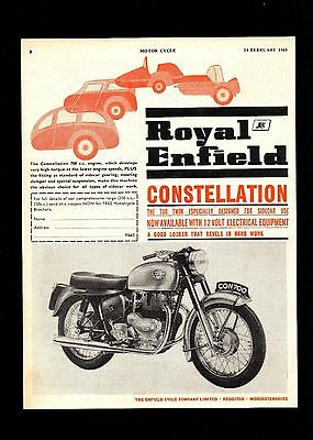1963 Royal Enfield  Constellation 700 Twin Motorcycle.magazine Advert.
