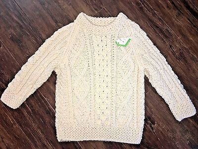 Irish Cottage size 5/6 100% wool hand knit fisherman cable knit sweater NWT