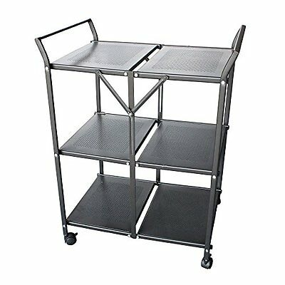 Greenforest Mocha Coffee Folding Metal Rolling Serving Cart Dining Car St25407-B