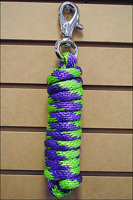 Lime Purple Horse Tack Solid Braid Poly Rope Lead W/ Npmi Buffalo Snap 5/8 X 9