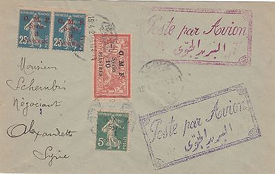 Syria 1921 Special Fly Cover (Muller 6) From Alep To Alexandrette Turkey
