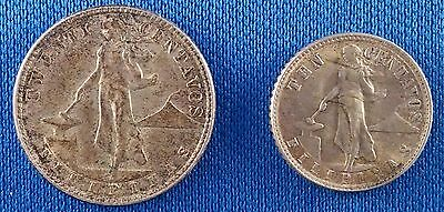 1944-D Philippines 10 Centavos and 20 Centavos Silver Coins
