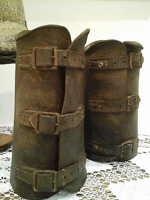 Antique WW1 Leather Military Gaiters ~ British Cavalry Riding Shin Guards Spats
