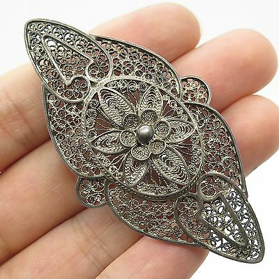 Antq Solid Silver Large Unique Handmade Filigree Large Pin Brooch