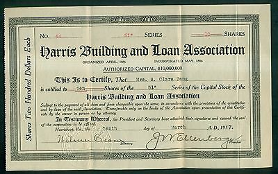 1917 Harris Building and Loan Association Stock Certificate - Harrisburg,PA