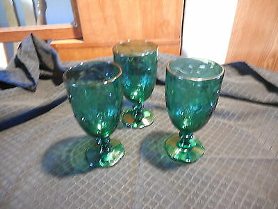 Set of 3 Princess House Fantasia Green Goblet Glass with Label