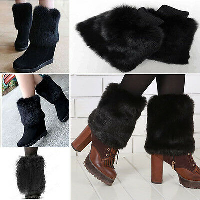 Black Short Fluffy Fuzzy Boot Cuff Leg Warmer Faux Fur Coachella Rave Fashion OS