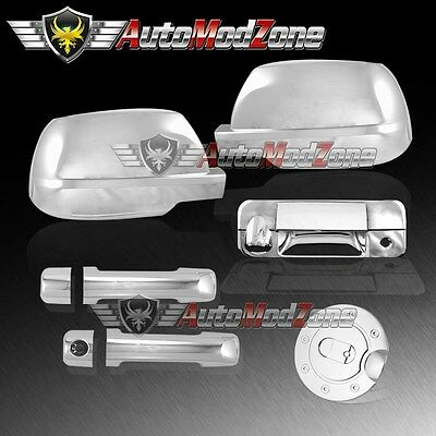 For 07-13 Toyota Tundra Mirror Full+4Drs Handle+Tailgate W//Keyhole Chrome Cover