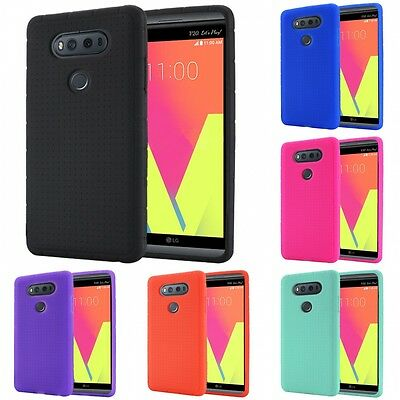 For LG V20 Rugged Thick Silicone Grip Soft Skin Case Cover