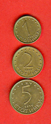 BULGARIA - 1, 2, 5 St NO MAGNETIC issue 1999