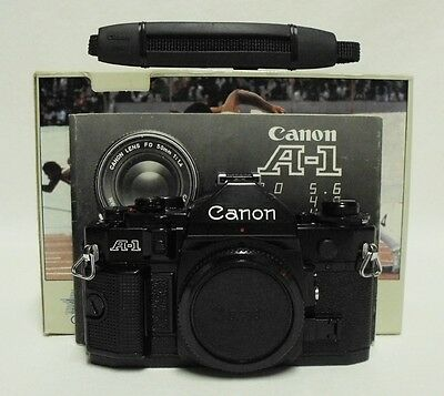 CANON A-1 35mm SLR Film Camera Body Only Tested Meter Working A1 w/Box Minty