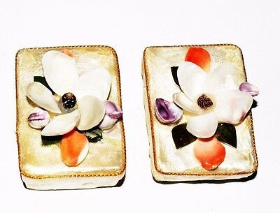 Two Mother of Pearl Philippines Hand Made Pill Boxes - Delicate Collectibles