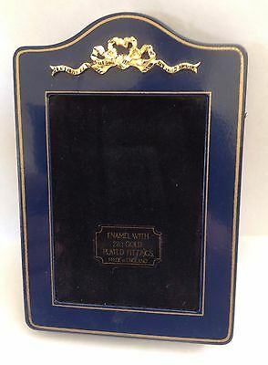 Blue Enamel Photo Frame • 22K Gold Plated Fittings • Kitney Of England • Small