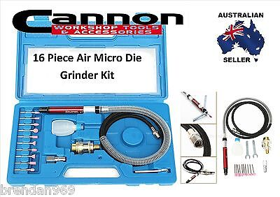 16 Piece Air Micro Die Grinder Kit Mini Pencil Polishing Rotary Cutting Tool Set