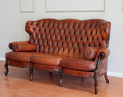 Antique French Louis XV Office Bed Room Dining Room Sofa  Lounge  Leather
