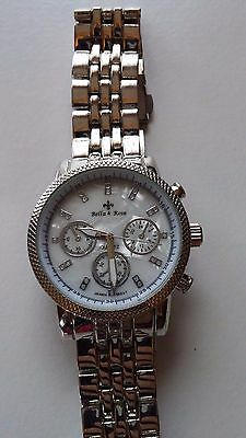 Mens Bella and Rose Stainless Steel Back Time, Calendar, Alarm, Stop Watch