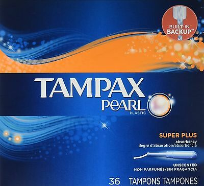 Tampax Pearl Plastic Tampons Super Plus Absorbency Unscented  36 count  Pack ...