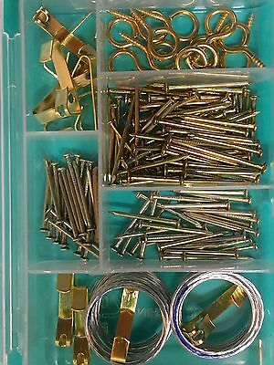 Picture Frame Hanging Kit 100 Plus for Several Pictures Hooks Wires Hangers