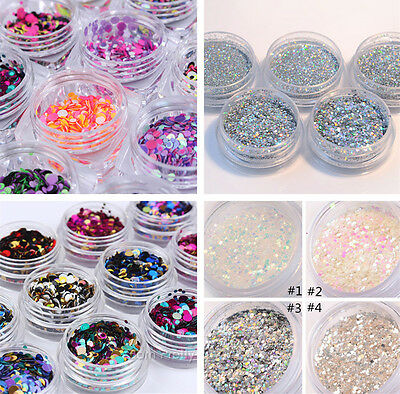 Nail Art Glitter Powder Dust for UV Gel Acrylic  Nails Sequins Decoration Tips