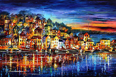 "Quiet Town —  Oil Painting On Canvas By Leonid Afremov. Size: 40""x30"" Landscape"