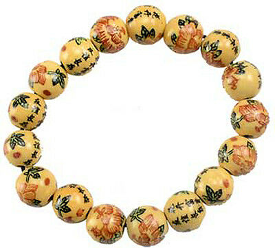 Asian Motif Wooden Stretch Bracelet New Age WiccaWood Beads Meditation