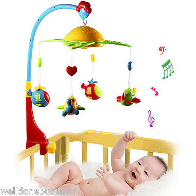 Baby Musical Star Projection Hanging Bell Crib Rattle Toy Light Flash Bed Ring