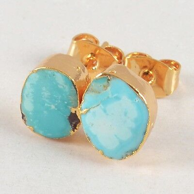 100% Genuine Turquoise Stud Earrings Gold Plated B024353