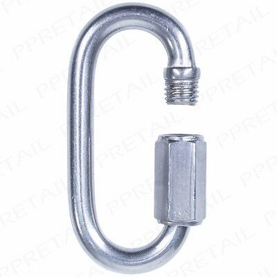 HIGH GRADED STAINLESS STEEL QUICK SCREW LINK Hook Carabiner Lock Climbing Hiking