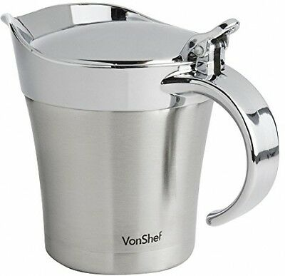 VonShef Stainless Steel Gravy Boat / Sauce Jug, Double Insulated, Free 2 Year