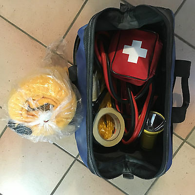 MICHELIN SAFETY AND STORAGE KIT, Booster Cables, First Aid, Rope Possibly USED