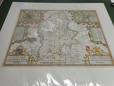100% Original Large Staffordshire Map By John Speed C1676 Vgc Hand Coloured