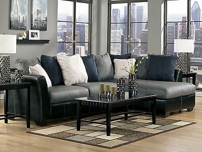 COURTNEY - Faux Leather & Microfiber Sofa Couch Chaise Sectional Set Living Room
