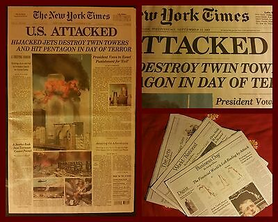 New York Times giornale 11 Settembre 2001 - 9/11 NY terrorist twin towers attack
