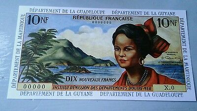 World banknote ABSOLUTELY SCARCE!!, Guadeloupe 10 francs 1963 REPRODUCTION