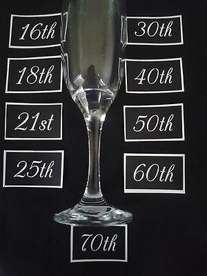"""Large Anniversary / birthday number etching glass 10th - 70th  1.5"""" high mix"""