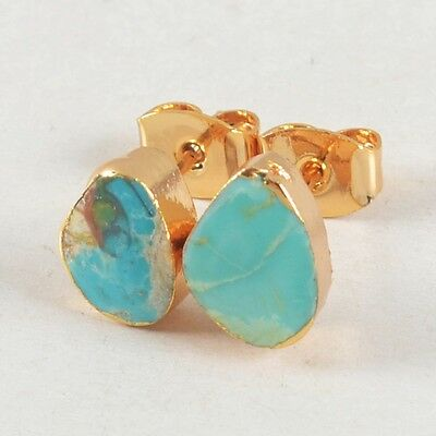 Natural Genuine Turquoise Stud Earrings Gold Plated B026807