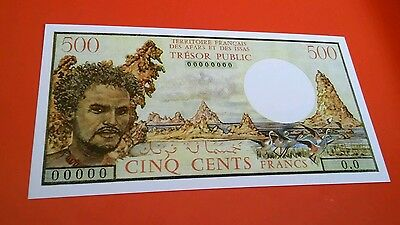 World banknote ABSOLUTELY SCARCE French Afars and Issas 500 Francs REPRODUCTION