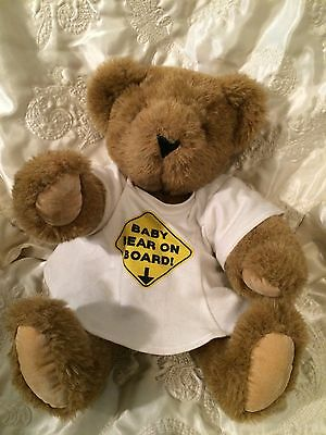 """Vermont Teddy Bear Light Brown Maternity Baby on Board Classic Jointed 15"""""""