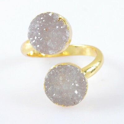 Size 6.5 Natural Agate Druzy Geode Adjustable Ring Gold Plated T026765