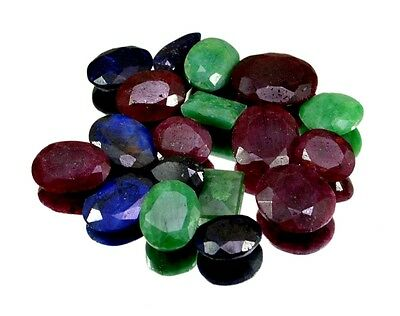 170ct / 18pcs Natural Emerald Ruby Sapphire Ring UK Size Gemstone Wholesale Lot