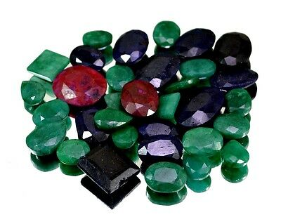 370ct / 34pcs Natural Emerald Sapphire Ruby UK Ring Size Gemstone Wholesale Lot