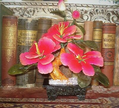 Jade Tree Ornamental Stone PINK HIBISCUS BLOSSOMS in Stone Pot